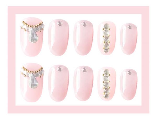 Set 24 unghii false autoadezive tip cu adeziv, tipsuri balerina, cu model glossy Roz 2