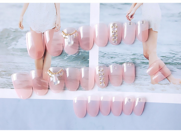 Set 24 unghii false autoadezive tip cu adeziv, tipsuri balerina, cu model glossy Roz 6