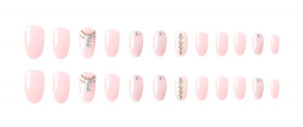 Set 24 unghii false autoadezive tip cu adeziv, tipsuri balerina, cu model glossy Roz 1