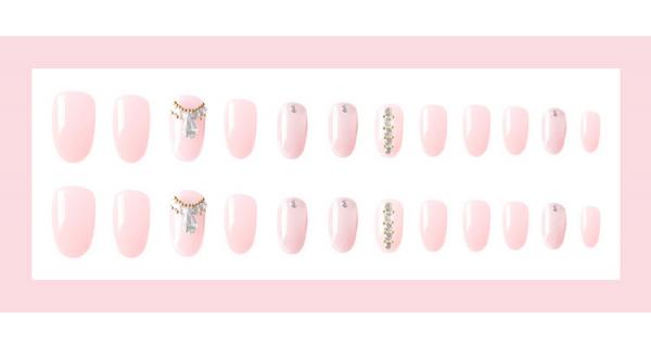 Set 24 unghii false autoadezive tip cu adeziv, tipsuri balerina, cu model glossy Roz 3