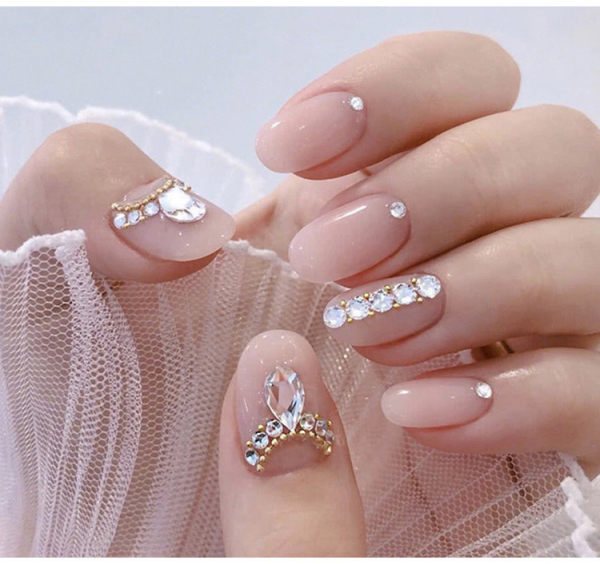 Set 24 unghii false autoadezive tip cu adeziv, tipsuri balerina, cu model glossy Roz 7