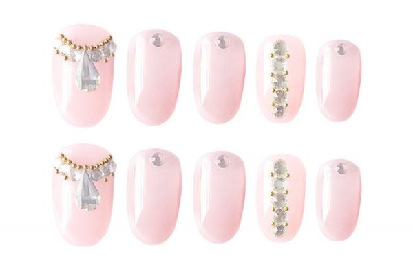 Set 24 unghii false autoadezive tip cu adeziv, tipsuri balerina, cu model glossy Roz 0