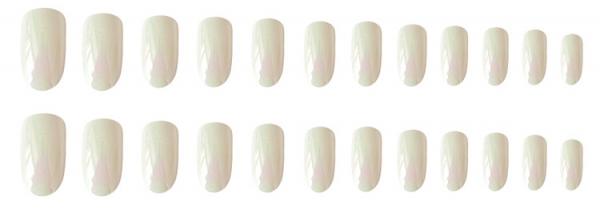 Set 24 unghii false autoadezive tip cu adeziv, tipsuri balerina, cu model glossy Perlat 1