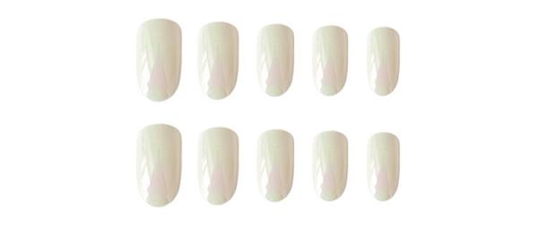 Set 24 unghii false autoadezive tip cu adeziv, tipsuri balerina, cu model glossy Perlat 0