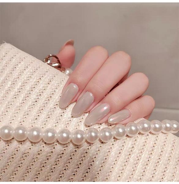 Set 24 unghii false autoadezive tip cu adeziv, tipsuri balerina, cu model glossy Perlat 5