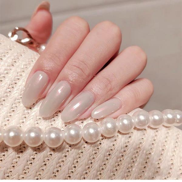 Set 24 unghii false autoadezive tip cu adeziv, tipsuri balerina, cu model glossy Perlat 6