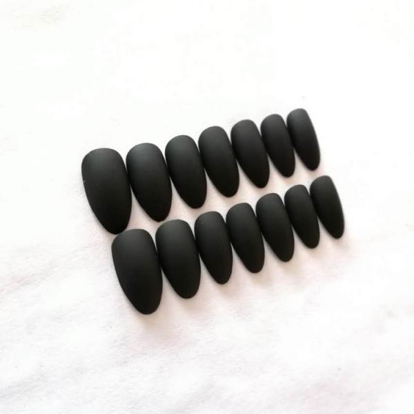 Set 24 unghii false autoadezive tip cu adeziv, tipsuri balerina, cu model Negru Mat 2