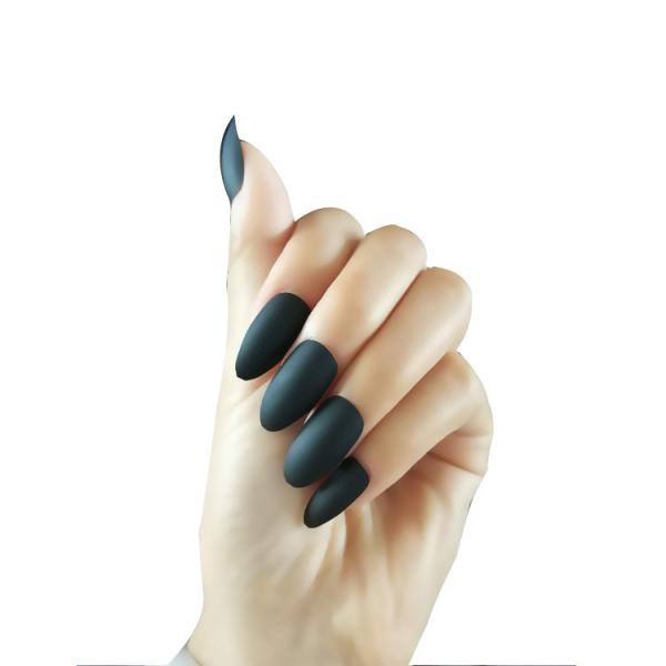 Set 24 unghii false autoadezive tip cu adeziv, tipsuri balerina, cu model Negru Mat 1