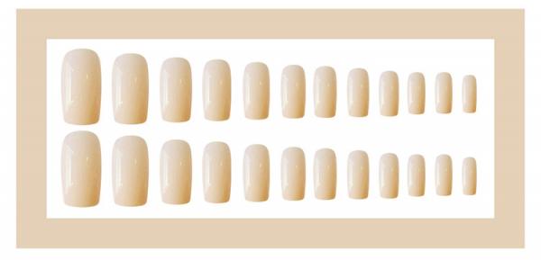 Set 24 unghii false autoadezive tip cu adeziv, tipsuri balerina, cu model glossy Creme Rose 0