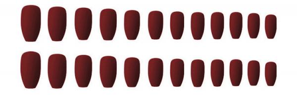 Set 24 unghii false autoadezive tip cu adeziv, tipsuri balerina, cu model Maro mat 1