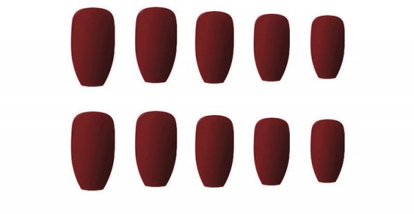 Set 24 unghii false autoadezive tip cu adeziv, tipsuri balerina, cu model Maro mat 0