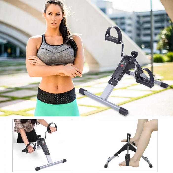 Mini bicicleta pliabila 2in1 fitness de antrenament pentru reabilitare, display LCD si functie de reglare a rezistentei 1