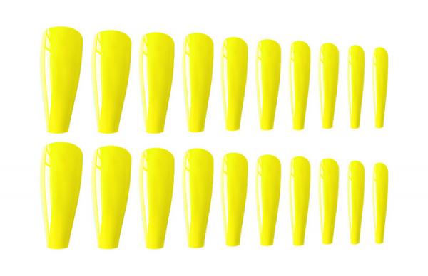 Set 24 unghii false autoadezive tip cu adeziv, tipsuri balerina, cu model glossy Galben 1