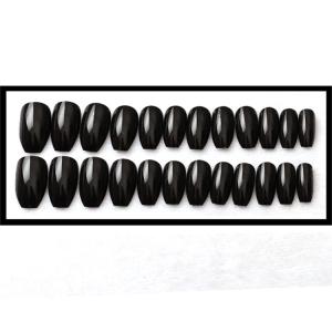 Set 24 unghii false autoadezive tip cu adeziv, tipsuri balerina, cu model glossy Negru1