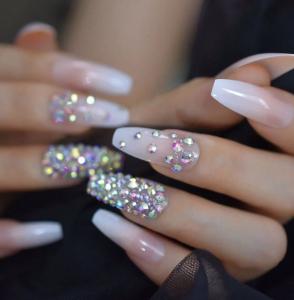 Set 24 unghii false autoadezive tip cu adeziv, tipsuri balerina, cu model Glossy Nude Dimond0