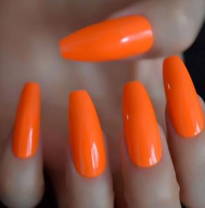 Set 24 unghii false autoadezive tip cu adeziv, tipsuri balerina, cu model Glossy portocale [0]