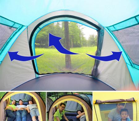 Cort de camping automat, Klept, Albastru si Gri, 3 persoane, dimensiuni 245 X 150 X 105 cm2