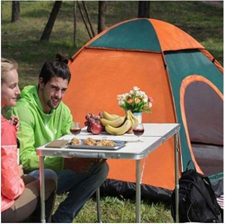 Cort de camping, Klept, Verde si portocaliu, 3-4 persoane, dimensiuni 210 x 210 x 130 cm2