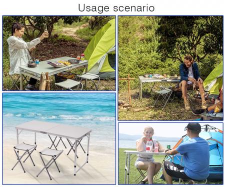Set masa camping Klept, pliabila, cu 4 scaune, Albastru [7]