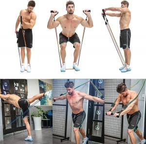 Set 11 bucati extensor fitness cu corzi elastice latex, manere, ancora usa si curele pentru glezna1