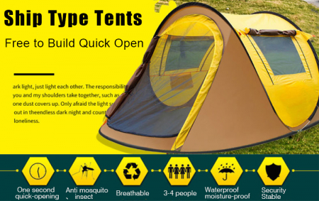 Cort de camping automat, Klept, Galben si Gri, 3 persoane, dimensiuni 245 X 150 X 105 cm - Copie [2]
