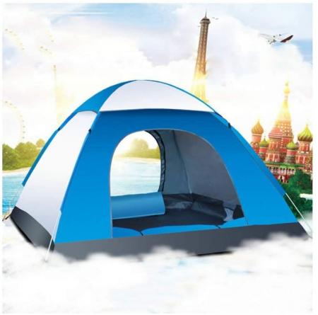 Cort de camping, Klept, albastru si argintiu, 3-4 persoane, dimensiuni 210 x 210 x 130 cm2