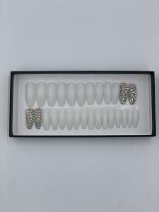Set 24 unghii false autoadezive tip cu adeziv, tipsuri balerina, cu model Alb Dimond [1]