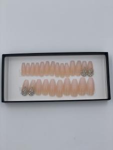 Set 24 unghii false autoadezive tip cu adeziv, tipsuri balerina, cu model Nude Dimond Ombre1