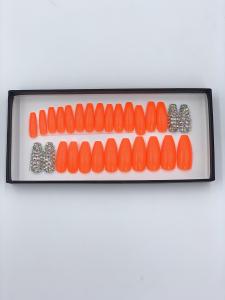 Set 24 unghii false autoadezive tip cu adeziv, tipsuri balerina, cu model Portocale Dimond1