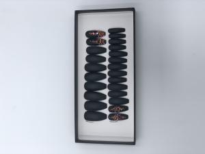 Set 24 unghii false autoadezive tip cu adeziv, tipsuri balerina, cu model Negru mat Dimond1