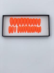 Set 24 unghii false autoadezive tip cu adeziv, tipsuri balerina, cu model Glossy portocale [1]