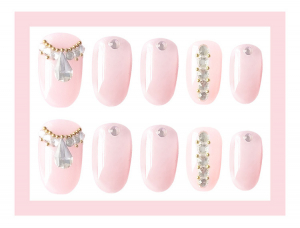 Set 24 unghii false autoadezive tip cu adeziv, tipsuri balerina, cu model glossy Roz2