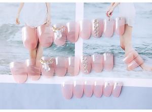 Set 24 unghii false autoadezive tip cu adeziv, tipsuri balerina, cu model glossy Roz6