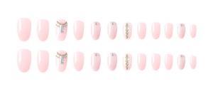 Set 24 unghii false autoadezive tip cu adeziv, tipsuri balerina, cu model glossy Roz1