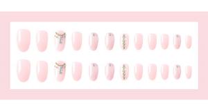 Set 24 unghii false autoadezive tip cu adeziv, tipsuri balerina, cu model glossy Roz3
