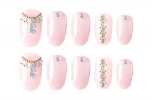 Set 24 unghii false autoadezive tip cu adeziv, tipsuri balerina, cu model glossy Roz0