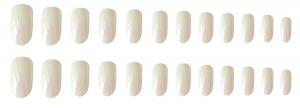 Set 24 unghii false autoadezive tip cu adeziv, tipsuri balerina, cu model glossy Perlat1