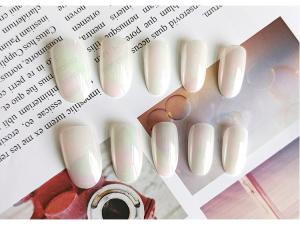 Set 24 unghii false autoadezive tip cu adeziv, tipsuri balerina, cu model glossy Perlat2