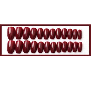 Set 24 unghii false autoadezive tip cu adeziv, tipsuri balerina, cu model glossy french Maro2