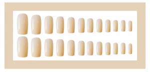 Set 24 unghii false autoadezive tip cu adeziv, tipsuri balerina, cu model glossy Creme Rose0