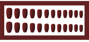 Set 24 unghii false autoadezive tip cu adeziv, tipsuri balerina, cu model Maro mat [3]