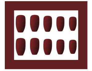 Set 24 unghii false autoadezive tip cu adeziv, tipsuri balerina, cu model Maro mat [2]