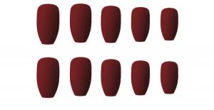 Set 24 unghii false autoadezive tip cu adeziv, tipsuri balerina, cu model Maro mat [0]