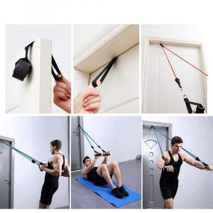 Set 11 bucati extensor fitness cu corzi elastice latex, manere, ancora usa si curele pentru glezna5