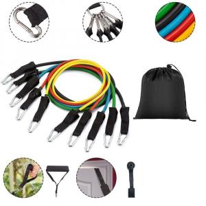 Set 11 bucati extensor fitness cu corzi elastice latex, manere, ancora usa si curele pentru glezna0