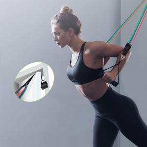 Set 11 bucati extensor fitness cu corzi elastice latex, manere, ancora usa si curele pentru glezna7