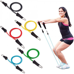 Set 11 bucati extensor fitness cu corzi elastice latex, manere, ancora usa si curele pentru glezna9