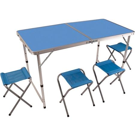 Set masa camping Klept, pliabila, cu 4 scaune, Albastru [1]
