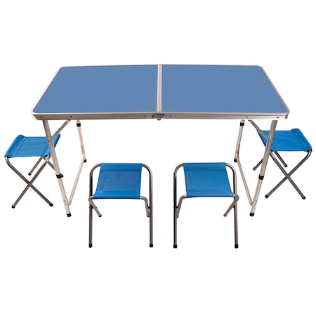 Set masa camping Klept, pliabila, cu 4 scaune, Albastru [0]