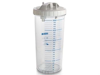 Vas aspiratie secretii / Borcan colector 5 Litri / 5000 ml pentru aspirator chirurgical - autoclavabil 121°C - capac si accesorii incluse [0]